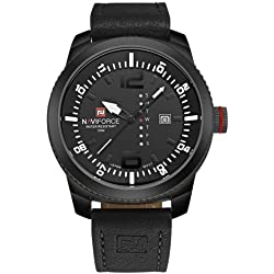 NAVIFORCE 4080 Multifunctional 3 ATM Waterproof Sport Uhr Quarz Unisex Wrist Uhr mit PU Band and Week & Calendar Display FUNCTIONS (Black Band + White Scale)