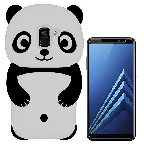 Hcheg 3D Silikon Schutzhülle Tasche für Samsung Galaxy A8 2018 Duos (A530F/DS) Hülle Panda Design schwarz/weiß Case Cover+ 1X Nano-Proof Film de Protection écran