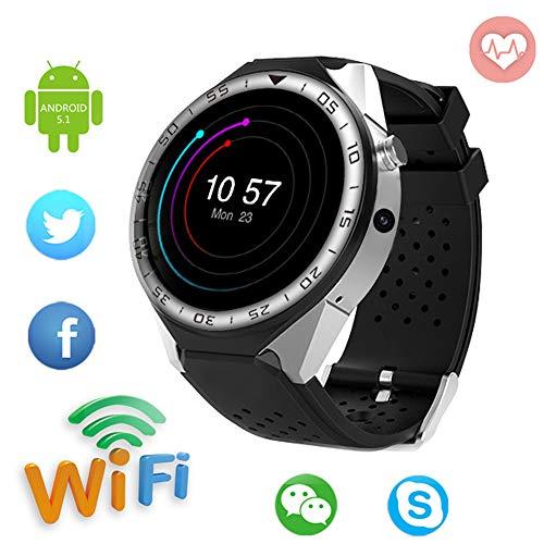 Android Smartwatch, GPS / 3G Telefon Sehen Clever/Vier Kern Voller Kreis Bildschirm W-LAN Kamera Herz 16G, SIM Karte Slot, zum Mann Frau,Silver -