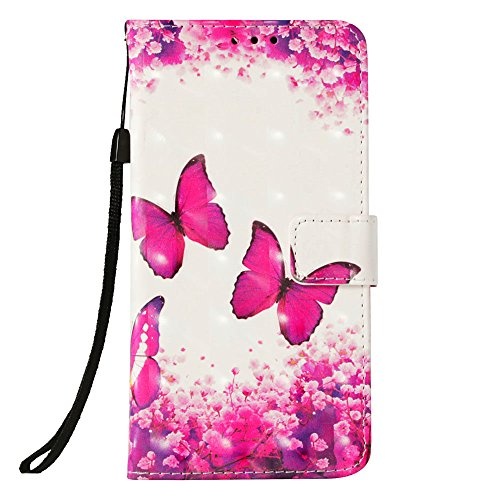 LG K30 Fall, LG K10 2018 Fall, jancalm [Handschlaufe] [Standfunktion] [3D Painted] [-Karte/Cash Slots] Muster PU Leder Wallet Magnetic Flip Folio Cover + Crystal Pen, Rose Butterfly Pattern T-mobile Wireless-handy