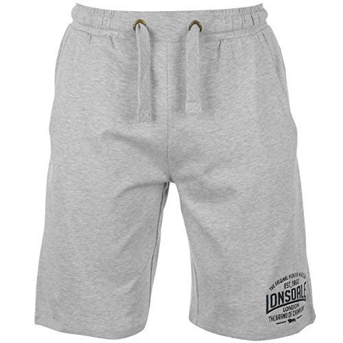 Lonsdale mens box lightweight shorts pants bottoms boxing sports clothing grey marl xl