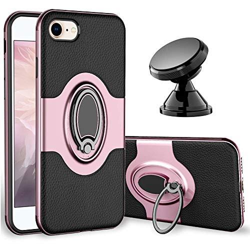 Fantasyqi Ring Hülle Kompatibel mit iPhone 7 / iPhone 8 Handyhülle + Universal Handyhalterung Auto Magnet Schutzhülle Cover magnetische Silikon Auto Case Ultra Dünn Stabil (Kratzer-entferner Objektiv)