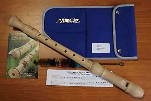 Schneider F-Alt-Blockflöte, barocke Griffweise, 3-teilig, Bergahorn natur