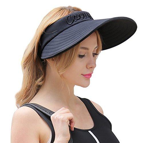 CACUSS Sonnenblende - Sommer Schatten Kappe Sonnenhut Sonnenschild Visor mit Klettverschluss für Damen
