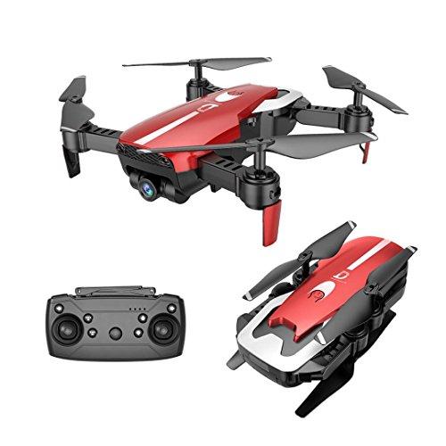 Fuibo Mini Drohne Faltbar, Drohne 720P Weitwinkel-Kamera Wifi FPV 2.4G Eine Taste Start / Landung Quadcopter Toy Geschenk , Headless-Modus, Höhe Halten Wifi-Steuerung (Rot)