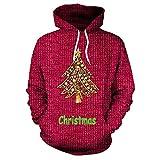 Geili Weihnachten Pullover Damen Weihnachtsbaum 3D Druck Hoodie Langarm mit Kapuze Sweatshirt Frauen Christmas Xmas Große Größe Kapuzenpullover Bluse Tops Festlich Oberbekleidung Vergleich