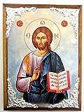 De madera Greek Christian ortodoxa madera icono de Jesús Cristo/AM30