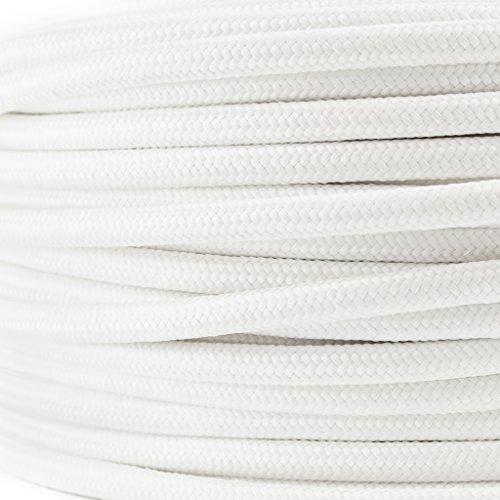 Preisvergleich Produktbild Textilkabel für Lampe, Textilummanteltes Rundkabel, dreiadrig 3x0,75mm², Weiß - Meterware, Preis pro Meter