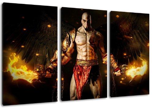 Dark God of War 3-Teilig auf Leinwand, Gesamtformat: 120x80 cm fertig gerahmte Kunstdruckbilder als Wandbild - Billiger als Ölbild oder Gemälde - KEIN Poster oder Plakat
