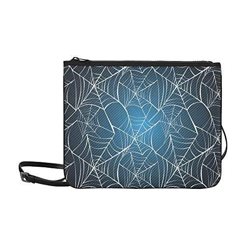 WYYWCY Happy Halloween Spider Webs Benutzerdefinierte hochwertige Nylon Slim Clutch Bag Cross-Body Bag (Halloween Spider Frau Kostüm)