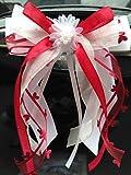 Miya@ 10 hochwertige Handgemacht Weiss Antenneschleifen mit Herzschleifen aus Satin, Auto Schleifen, Hochzeit Deko, Autoschmuck (3cm weinrot)