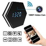 Wi-Fi sans fil caché espion caméra réveil - Bysameyee HD 1080 P enregistreur vidéo nounou Mini Cam DVR, Caméscope réseau IP avec détection de mouvement de nuit Vision nocturne coloré lumières
