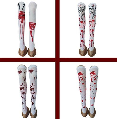 üm Halloween Blutige Socken Halloween Horror Gestreift Blutflecken Strümpfe Skelett Beine Neuheit Socken Über Kniestrümpfe - 4 Paare ()
