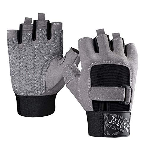 Trideer Anti-Rutsch Fitness Handschuhe Trainingshandschuhe mit Volle Silikon Palm und Langlebig Mikrofaser Material Krafttraining Bodybuilding und Workout Herren Damen