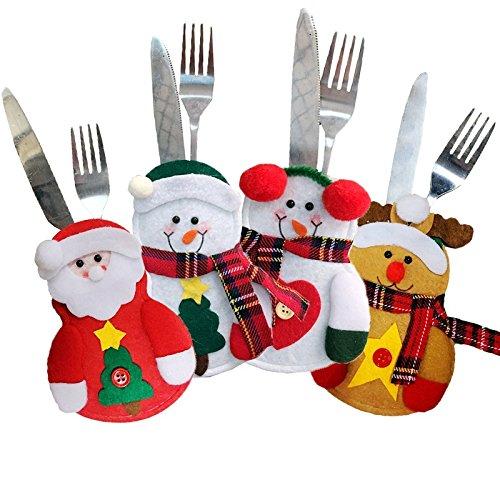 Hey ~ yo 4pcs natale vestito di posate da cucina argenteria tasche porta coltelli forchette cucchiai borse sacchetto decorazioni per festa di natale a forma di babbo natale snowman elk