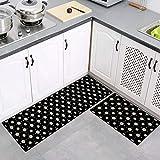 2 Stück Küchenteppiche Waschbar Teppich Küchenmatte Pattern Teppichläufer Rutschfeste Fußmatte Ölbeweismatte Matte für Esszimmer Schlafzimmer 40 x 60 cm + 40 x 120 cm,Blume