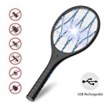 AUZKIN Fly USB Rechargeable Electric Racket for Home,Outdoor,Powerful 4000V Grid,Removable Flashlight,LED Light,Safe to
