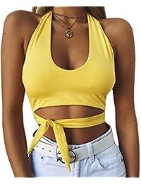 7f3f5bd264e0 LEvifun Canotte Donna Abbigliamento Vestiti Donna Estate Cotone Sport Yoga Crop  Tops Magliette Casual Elegante T Shirts Tank Tops Camicette…