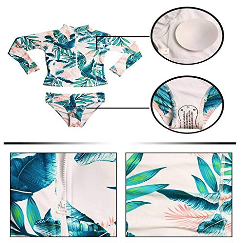 DAXINYANG Surfing Frauen Rash Guards Crop Top + Shorts Set Surfing Badeanzug Badeanzug Blumendruck Langarm O Neck Surf Set,M - Frauen Für Shorts Rash Guard