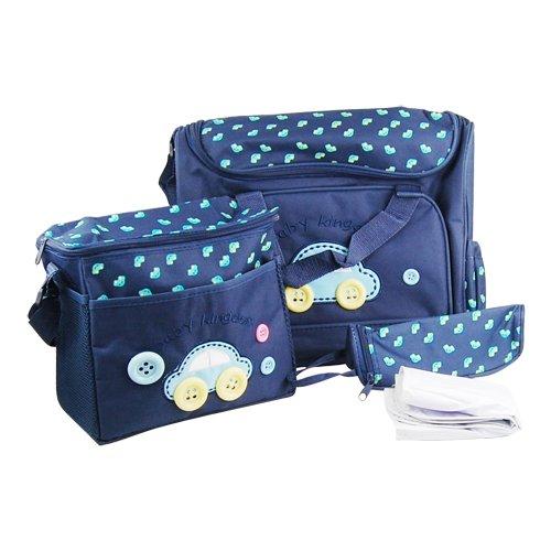 Accessotech - Grazioso set di 4pezzi per cambio pannolini del bebè, con borse ricamate, materassino per il cambio, e porta bottiglia