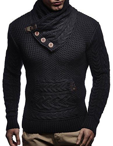 LEIF NELSON Herren Pullover Hoodie Strickpullover Sweater Sweatshirt Longsleeve Schalkragen LN7095 Schwarz