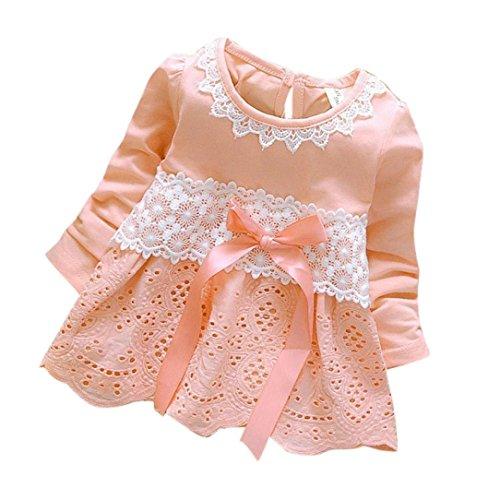 Amlaiworld Baby Blumen Hohl Spitze Prinzessin Kleider Mädchen weich Langarm Bowknot Niedlich Kleidung,0-36Monate (12 Monate, Rosa)