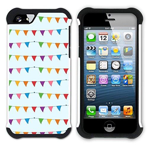 Graphic4You BLACK STRIPES Muster Hart + Weiche Kratzfeste Hülle Case Schale Tasche Schutzhülle für Apple iPhone SE / 5 / 5S Design #9