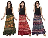 Ekam Art Women's Cotton Assorted Design Wrap Around Skirts(SKT 9, 38, Multicolour) - Pack of 3