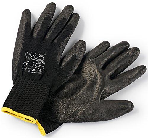 garten handschuhe 12 Paar Arbeits-Handschuhe von ISC H&S, Nylon, PU-beschichtet | verfügbar in S small (7), M medium (8), L large (9), XL x-large (10), XXL xx.large (11) | nahtlos, vielseitig, schwarz, Größe 8 (M)