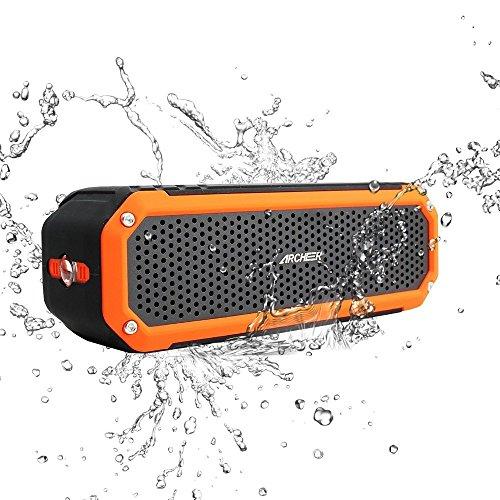 Foto de Altavoz Bluetooth 4.0 portatil, Altavoz Inalámbrico Impermeable con luz hasta 12 Horas de Uso Sonido Potente de Baño Protección Adicional contra Caídas y Golpes para iPhone Android Smartphone Tablets
