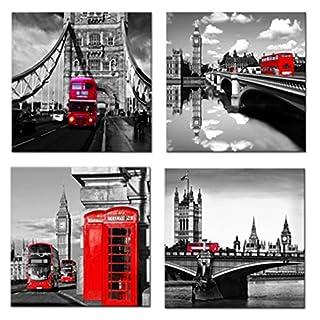 Amosi ArtLeinwanddruck, bestehend aus 4Drucken, Motiv: Straße in London, roter Bus, Brücke und Turm, Modern Art, fertig zum Aufhängen, für Wohnzimmer, Dekoration, rot, 30x30cmx4pcs