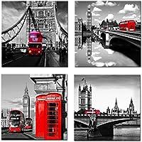 Amosi Art–4 toiles murales imprimées Motif Londres Scène de rue Bus Londonien classique Rouge, Pont et Tower City Art moderne Tableaux encadrés prêts à suspendre pour le salon Décoration de la Maison, Red, 30x30cmx4pcs