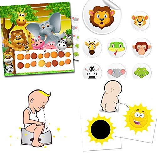 icht gemacht mit unserem Set bestehend aus einem verfärbenden Toilettensticker Sonne ☀️+ 2 bunten Belohnungbögen und 80 Stickern mit Thema Safari ()
