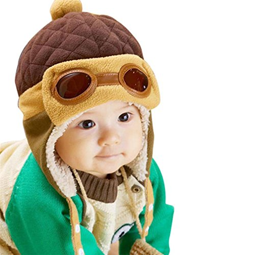 Kinder Pilot Aviator Hut, warme Baby Kid Winter Earflap Pilot Cap Fliegerhut Beanie Flug Helm (Braun)