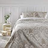 Conjunto de colcha de cama acolchada con 2 fundas de cojines - Talla grande - Estilo Encanto - Color: Beige y Blanco