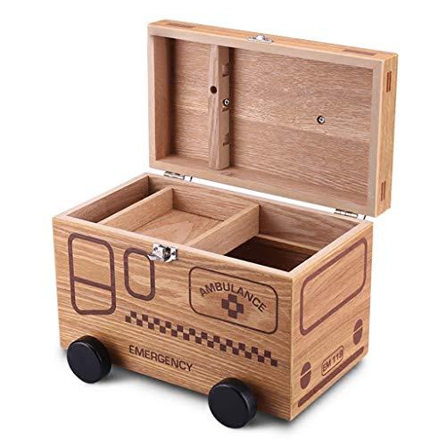Lihao-yx Wood Locking Kombinations-Medikamentenbehälter Child Proof-Aufbewahrungsbehälter, Größe 10,3 x 5,9 x 6,8 Zoll