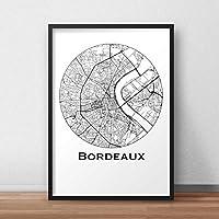 Affiche Bordeaux Minimalist Map (A4, A3, B2) - City Map, Poster de Bordeaux, Plan de ville, Impression d'Art, Création originale handmade