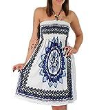 Neckholder Sommer Bandeau Kleid Holz-Perlen Damen Strandkleid Tuchkleid Tuch Aztec (F-023 Blau)