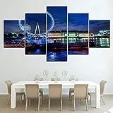 El paisaje del ojo de Londres 5 unidades de Wallpapers Moderno Modular arte del arte pintura de la Lona para la Sala de estar Decoración Del Hogar, 30X80