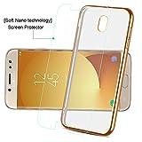 Samsung Galaxy J5 2017 Hülle, achoTREE Galvanisieren Soft Flex Silikon Premium Kratzfest TPU Ultra Dünn Durchsichtige Handyhülle für Samsung J5 2017 Schutzhülle + [1 × SoftNano-TechnologieSchutzfolie], Transparent Gold 5.2 Zoll