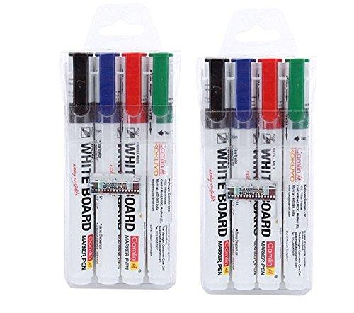 writeaway Camlin PB Board Marker weiß-4Stück sortierte Farben (schwarz, blau, rot, grün) (Pack von 2) -