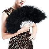 Coucoland 1920s Éventail Plume Éventail à Main pour Femme Éventail Pliant Plume Ventilateur Plume Flapper Accessoire de Great Gatsby Party