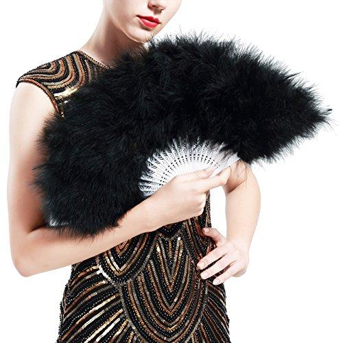 ArtiDeco Damen Fächer Marabou Feder 1920s Vintage Stil Retro Handfächer Damen Gatsby Kostüm Flapper Zubehör (Schwarz)