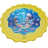AFCITY-Kids Wassermatte Baby 3er Pack 160cm Durchmesser Streuen Und Spritzen Spielmatte Wasserspielzeug Für Kinder/Hund/Katze/Haustiere Wasserpark des Frühen Kindes (Farbe : Gelb, Größe : 160cm)