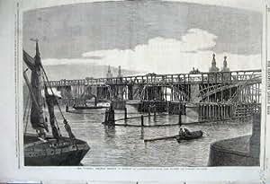 Bateaux 1860 de la Tamise Pimlico de Pont de Chemin De Fer de Victoria