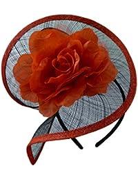 Negro/Blanco negro/rojo púrpura azul marrón LILA 50s de flores Sinamay sombrero tocado de boda Races Occasion