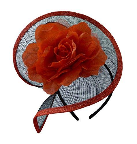 Blumenhut 50er-Stil aus Sinamay in schwarz/weiß, schwarz/rot, lila, blau, braun, für Hochzeit und Sportveranstaltungen Gr. One size, schwarz / rot - Hüte Der Braut Mutter