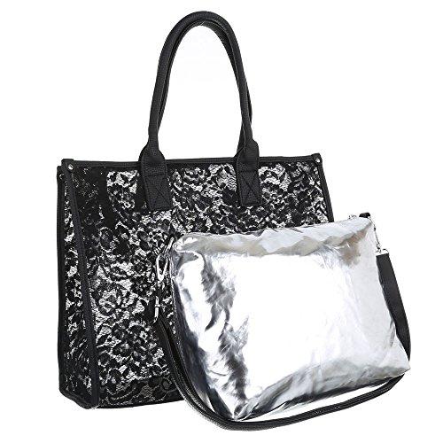 Damen Tasche, Große Tragetasche, Synthetik, TA-A-628 Schwarz
