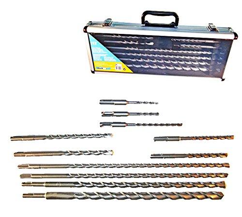 SDS Lang Long Betonbohrer plus Steinbohrer Set für Schlagbohrmaschine 11-tlg im Aluminiumkofer