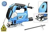 vetrineinrete® Stichsäge mit Laser Führung elektronisch 650Watt Klinge 65mm 6Geschwindigkeit für Bastelarbeiten und Heimwerker E59
